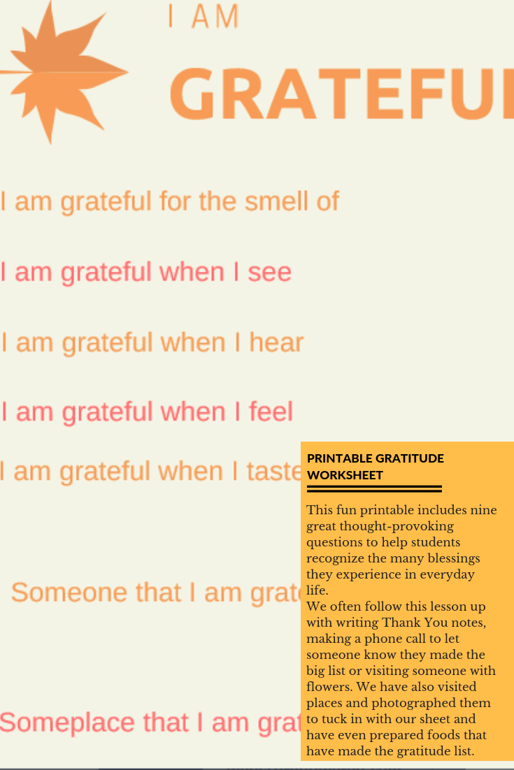 Gratitude Worksheet Printable