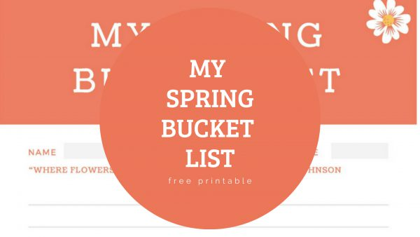 Spring Bucket List free printable for kids