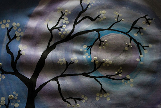 Cherry Blossom and Moon Painting