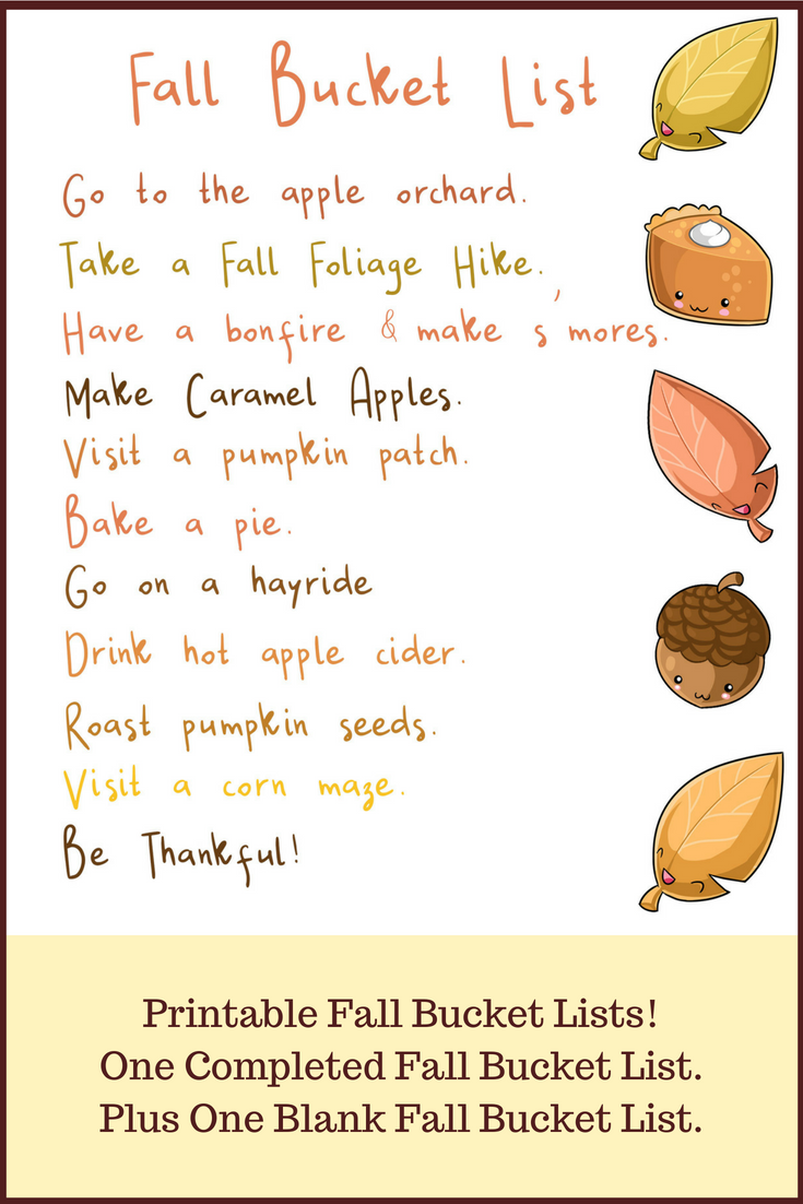 Printable Fall Bucket Lists