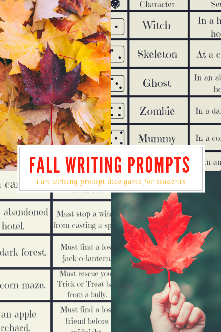 Fall Writing Prompts Dice Game