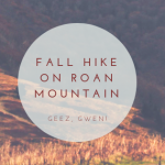 Another Fall Hike Up Roan Mountain From Carver's Gap