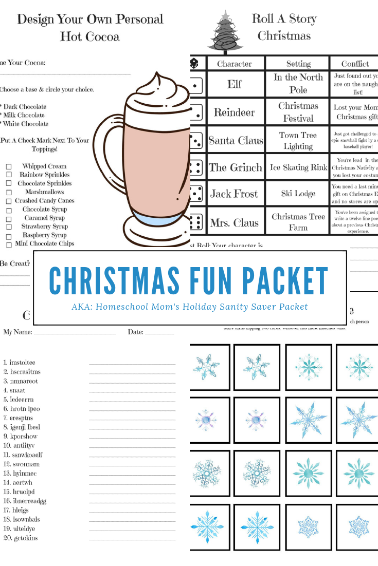 Homeschool Christmas Fun Printable Packet