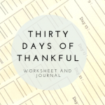 Thirty Days of Thankful Worksheet Printable