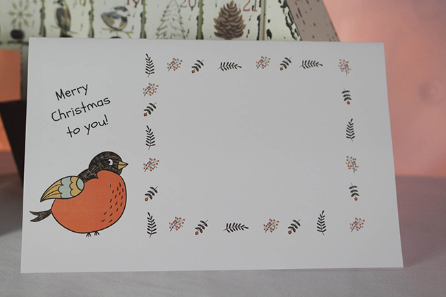 bird christmas card for kids