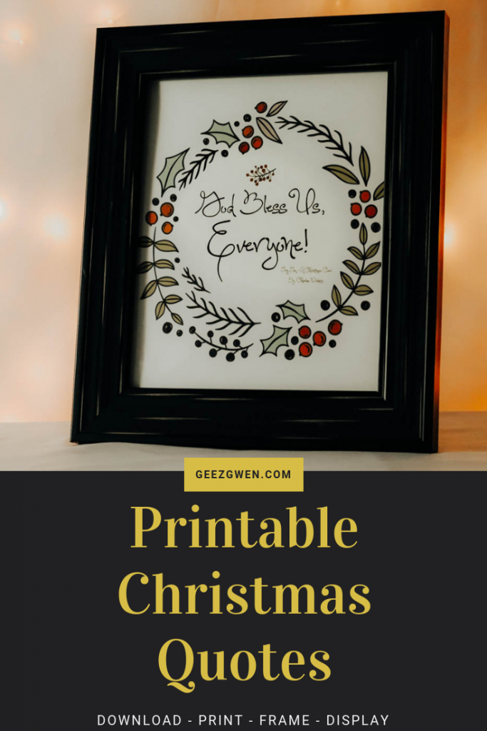 Tiny Tim Quote With Holiday Wreath
