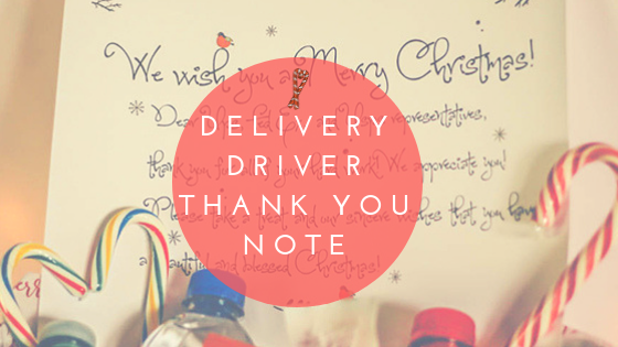 Delivery Driver Christmas Thank You Note