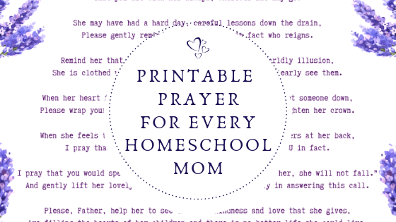 image relating to Prayer Printable named Homeschool Mother Prayer Printable