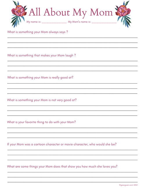 Mother's Day Question Sheet