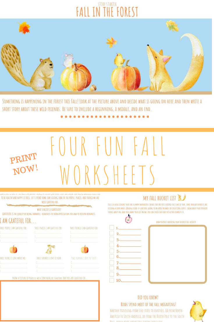Four Printable Fall Themed Worksheets