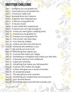 30 Day Gratitude Challenge Writing Prompts - Journal Prompts