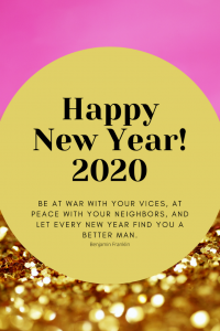 Happy New Year Print with Quote for 2020
