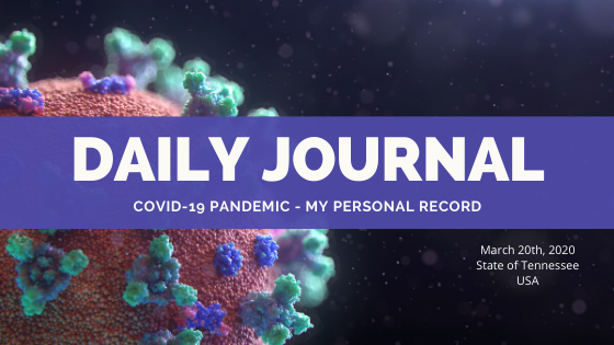 Day Two of My Journal Experiencing The Coronavirus Pandemic
