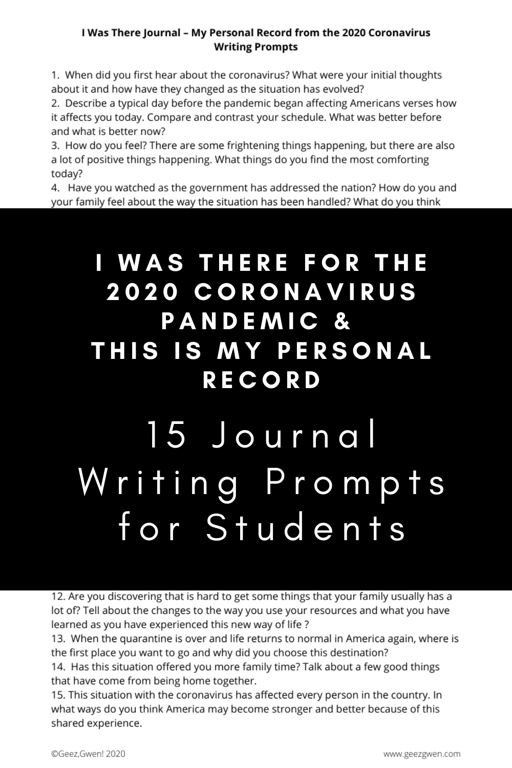 Printable Journal and/or Writing Prompts for creating a record of your experience with the coronavirus