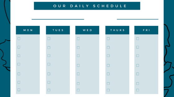 Blank Printable Daily Schedule