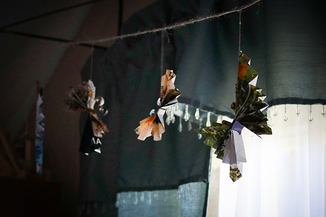 Butterfly Garland from recycled magazine pages