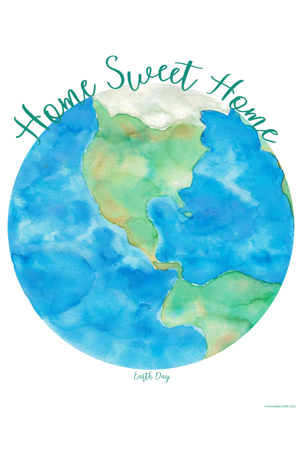 Home Sweet Home Earth Watercolor