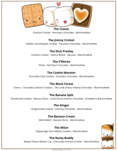 smores ideas for camping, printable menu of fun smores ideas
