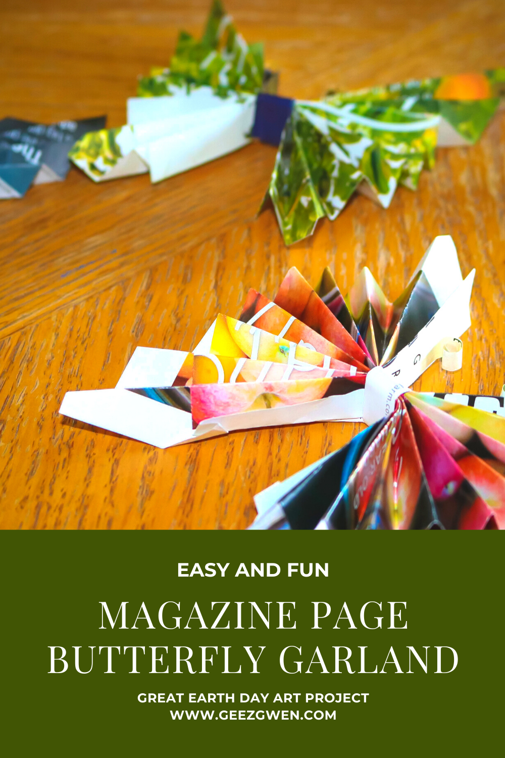 Magazine Page Butterfly Art Garland