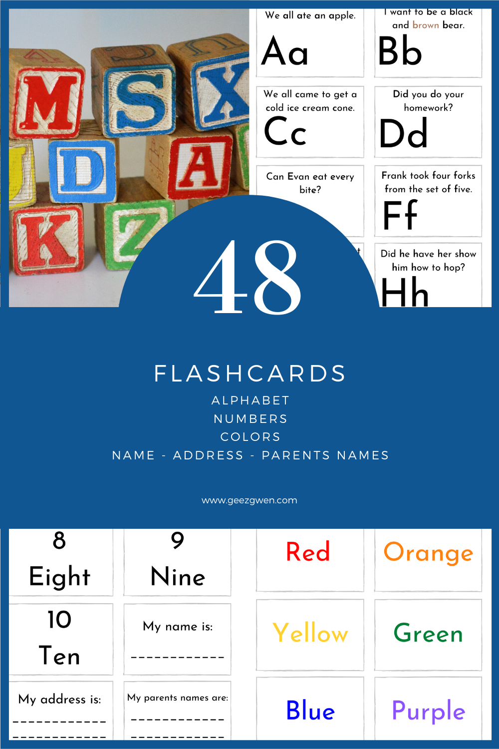 Printable Kindergarten Flashcard Set Includes Alphabet, Numbers, and Colors