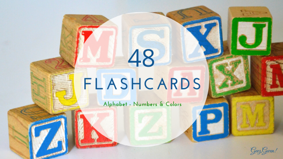 48 Flashcards for New Readers includes alphabet, numbers, and letters