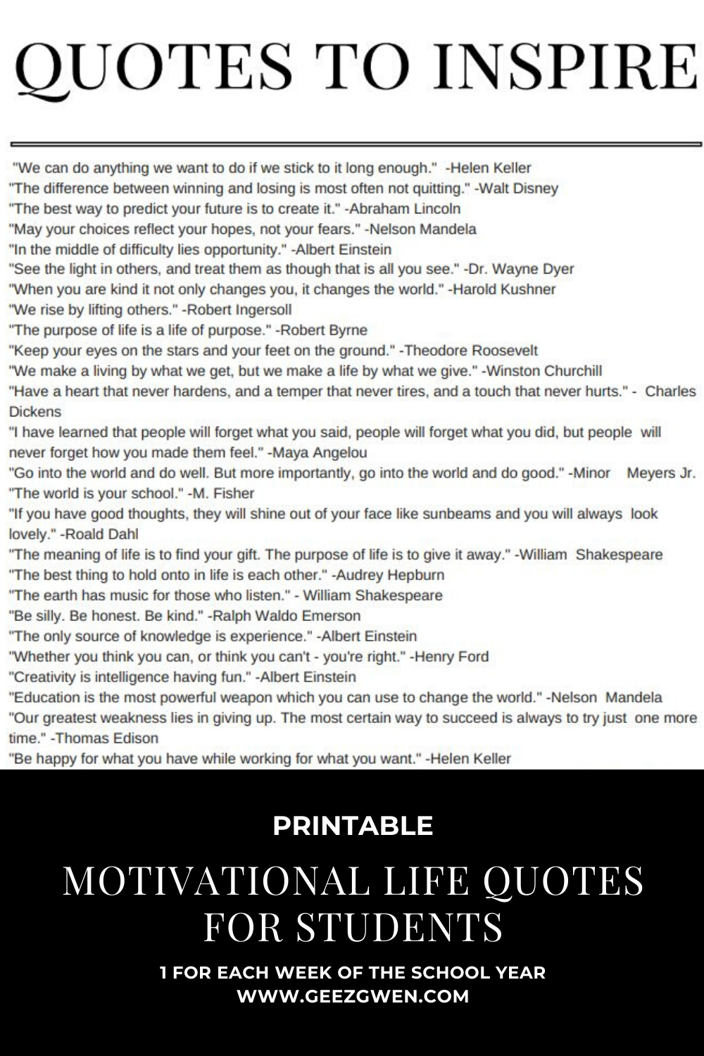 Printable List of Motivational Quotes for students