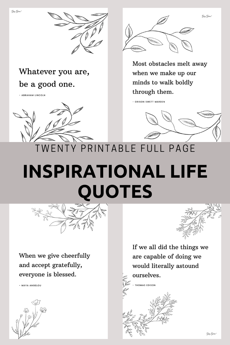 Printable Full Page Inspirational Life Quotes Set of Twenty