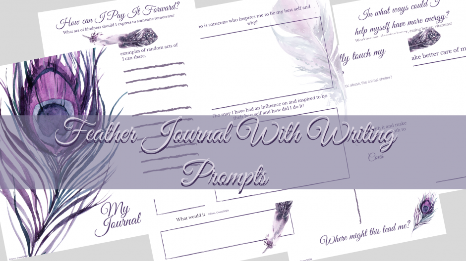Printable Inspirational Feather Journal with Writing Prompts