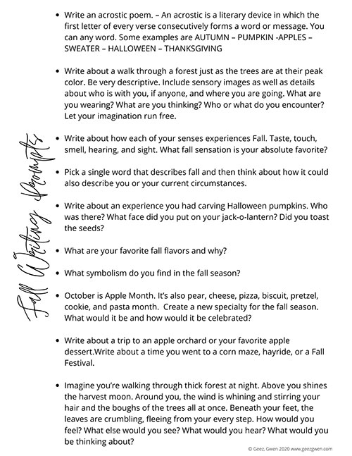 25 fall-themed writing prompts for personal journaling or use in a homeschool or classroom.