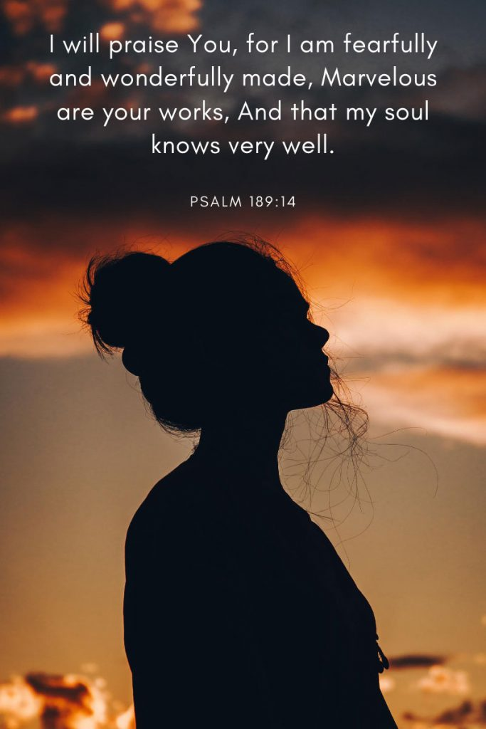 I will praise You, for I am fearfully and wonderfully made, Marvelous are your works, And that my soul knows very well.     ~ Psalm 189:14