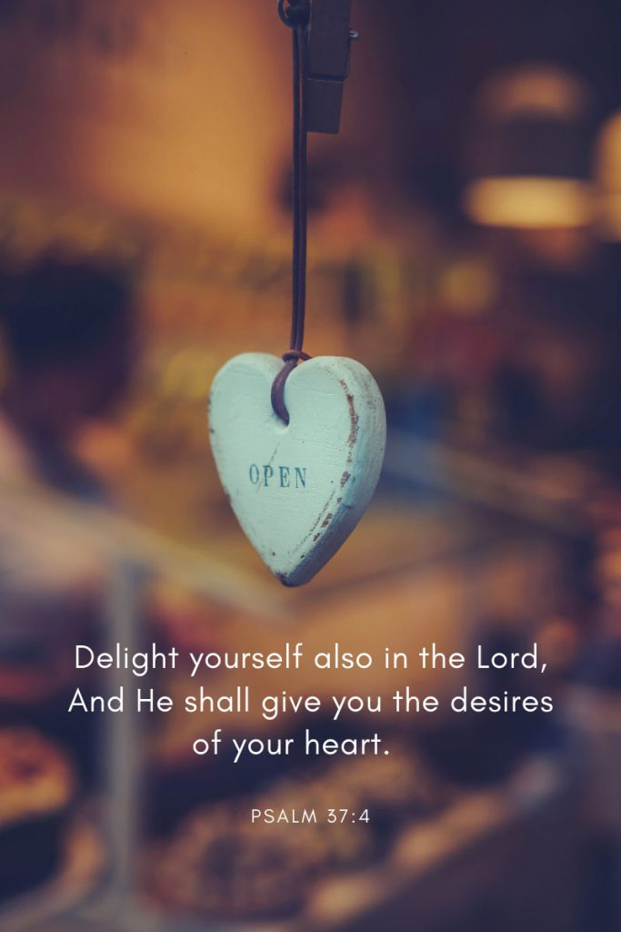 Delight yourself also in the Lord, And He shall give you the desires of your heart.    ~ Psalm 37:4 In a collection of 32 bible verses especially for teens.