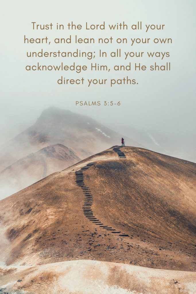 Trust in the Lord with all your heart, and lean not on your own understanding; In all your ways acknowledge Him, and He shall direct your paths.     ~ Psalms 3:5-6