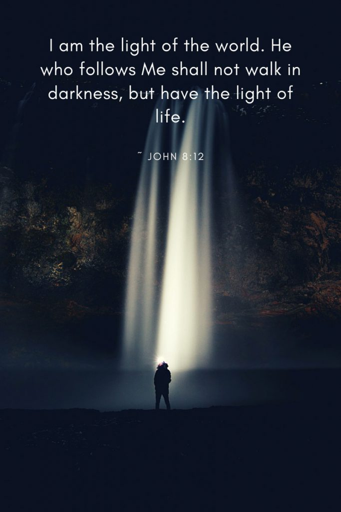 I am the light of the world. He who follows Me shall not walk in darkness, but have the light of life.     ~ John 8:12