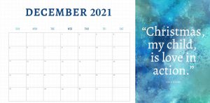 Christmas Is Love In Action Printable Calendar