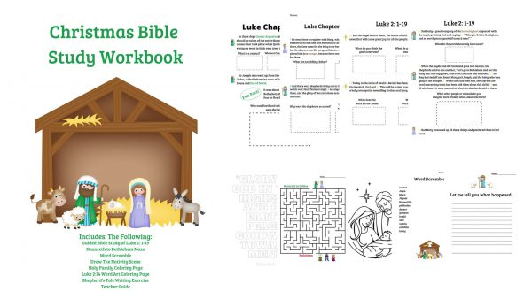 Christmas Bible Study for Kids Guides them Through Luke, includes coloring pages, maze, word scramble and writing exercise.