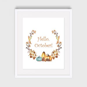 Hello October Print Home Decor