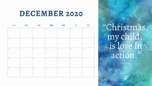 Christmas 2020 December Calendar for Planning Advent