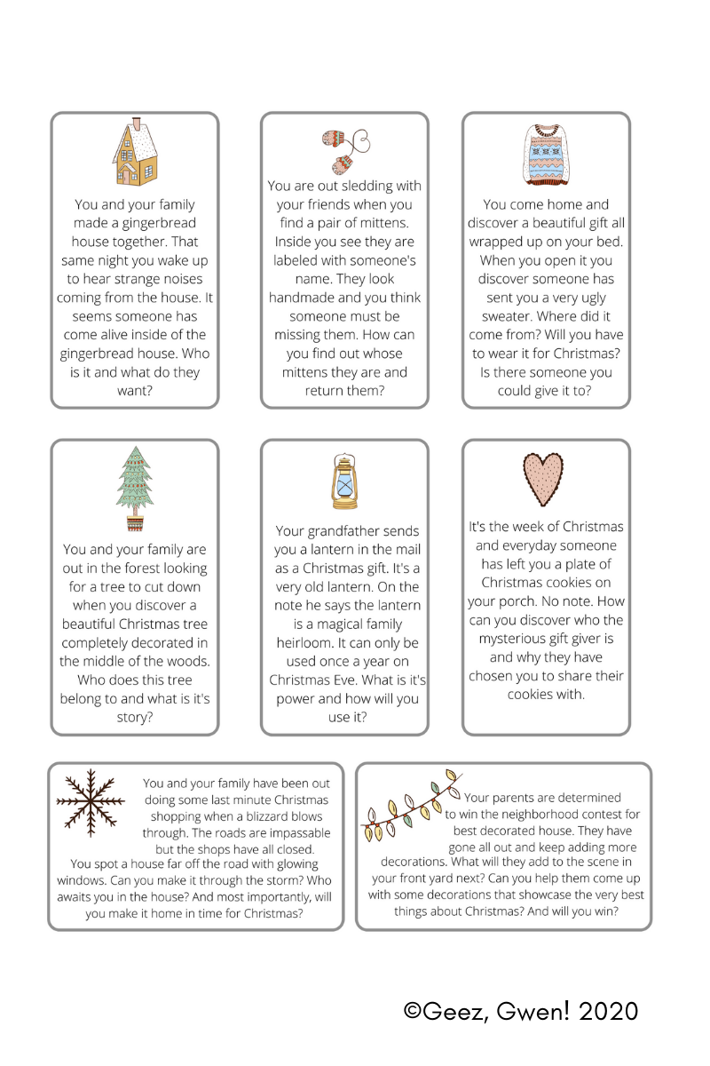 Winter Themed Writing Prompts - Story Starter Cards