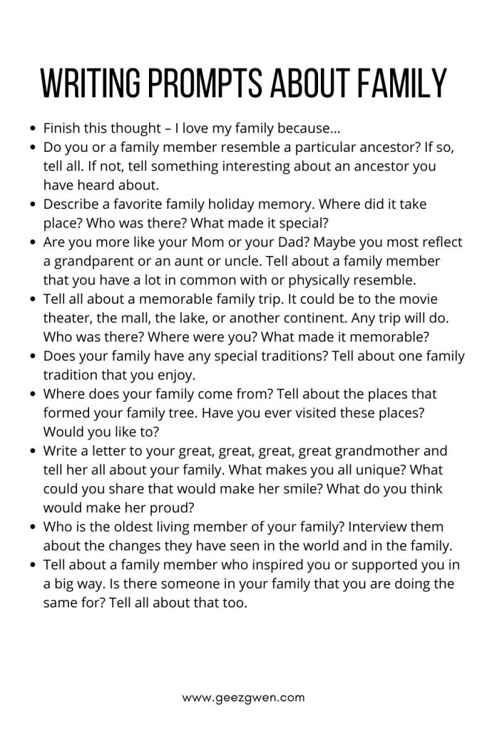 Family Writing Prompts for Journaling