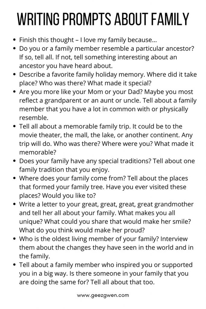 Journal writing ideas. Writing prompts about family.