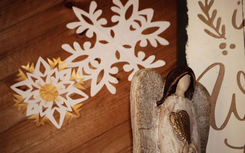 Paper snowflakes with angel.