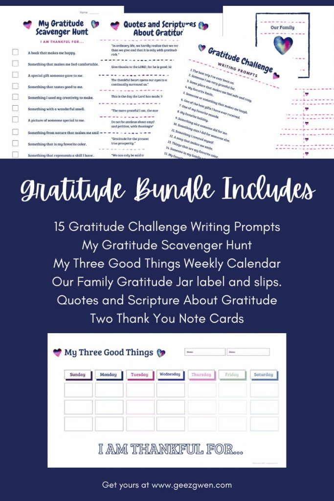 How to teach your children to be thankful - Gratitude Bundle includes activities which encourage kids to experience and share gratitude.