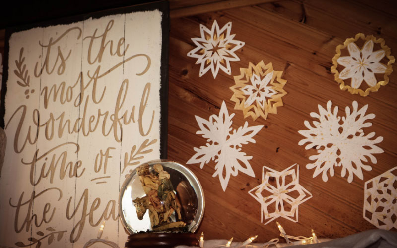 Paper snowflakes hung.