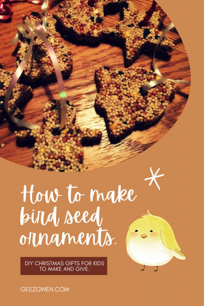 How to make Bird seed ornaments for Christmas gift's for kids to give.