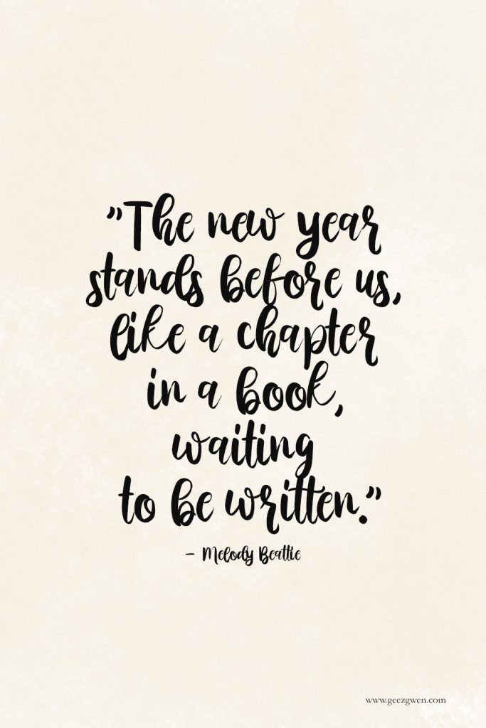 """New Year Quote - """"The new year stands before us, like a chapter in a book, waiting to be written."""" - Melody Beattie"""