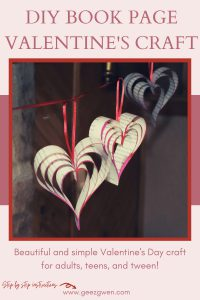 DIY Book Page Hearts for Valentine's or wedding