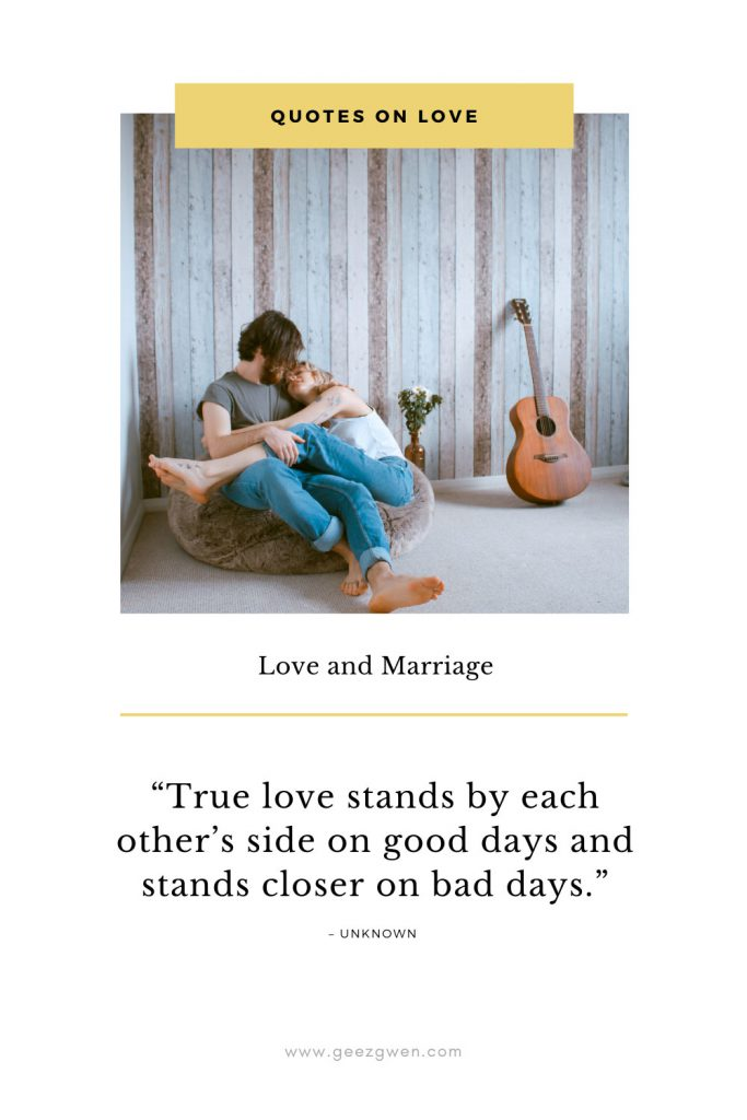 """True love stands by each other's side on good days and stands closer on bad days."""