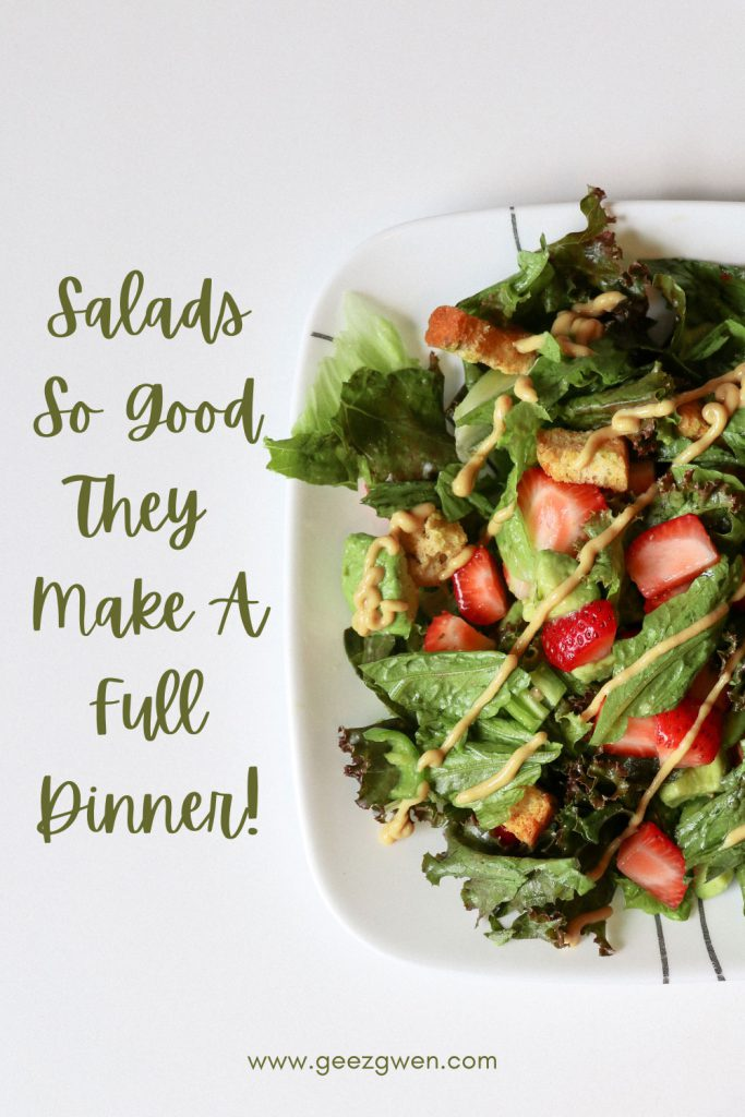 Salads so good they make a great dinner! Five tasty salad options that are satisfying.