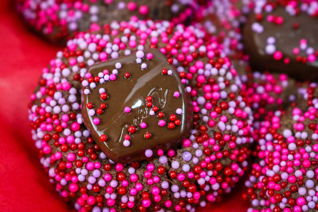 These Chocolate Sprinkle Covered Valentine's Day Cookies are our top pick for best homemade Valentine's Day Treat.