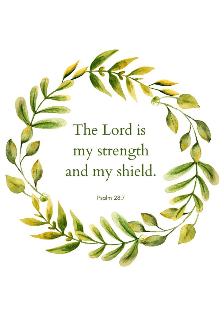 """The Lord is my strength and my shield."""